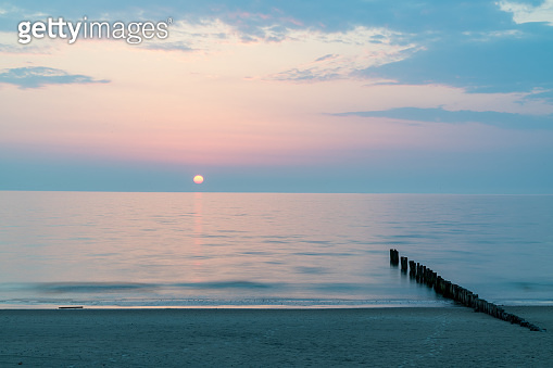 Sunset over the Baltic Sea at the Curonian Spit in Lithuania