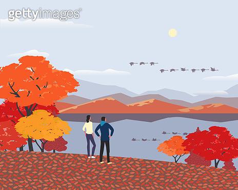 Autumn mountains lake landscape flat color vector