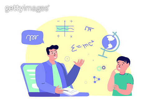 Remote Education.Online Digital Lesson Tutorial Education for Child.Teacher Coach Explain Knowledge for Pupil in Laptop.Student Study.Homework.Home Schooling.Internet Learning.Vector Flat Illustration