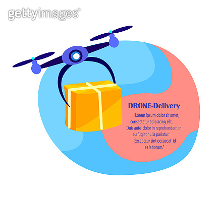 Drone Delivery Concept. Flying Robot.Sending Contactless Delivery Package Box.Remotely Piloted Flying Aircraft.Fast Consumption Goods Service. Home Shopping.Buy,Receive Parcel.Flat Vector Illustration