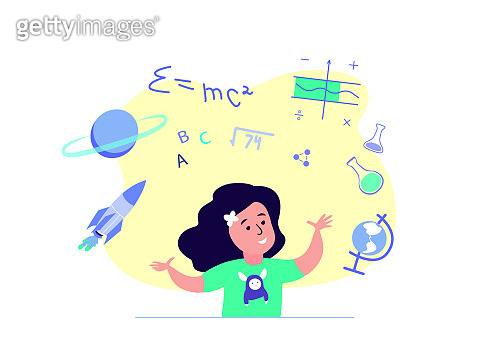 Pupil SchoolGirl Kid on Class Tutorial Education.Knowledge Elementary School for Children Students Kid Study,Homework.Funny Lesson Learning.Home Schooling. Pupil Study in Internet. Vector illustration