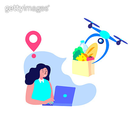 Drone Delivery.Young Smiling Woman Receive Contactless Delivery Food Product,Remotely Piloted Flying Aircraft. Consumption Online.Home Shopping.Buy,Receive Parcel.Client Order.Flat Vector Illustration