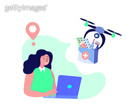 Drone Delivery.Woman Receive Contactless Delivery Parcel.First Aid Kit,Remotely Piloted Flying Aircraft.Medicament,Drug,Remedy.Consumption Online. Home Shop.Buy,Receive Parcel.Flat Vector Illustration