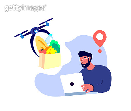 Drone Delivery. Young Smiling Man Receive Contactless Delivery Food Products,Remotely Piloted Flying Aircraft. Consumption Online.Home Shopping.Buy,Receive Parcel.Client Order.Flat Vector Illustration
