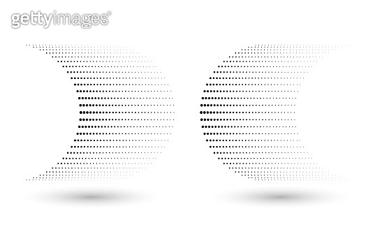 abstract dotted halftone shapes like arrow with gradient