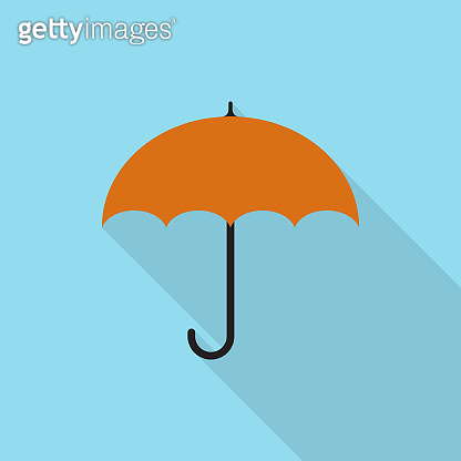 Umbrella icon with long shadow on blue background, flat design style