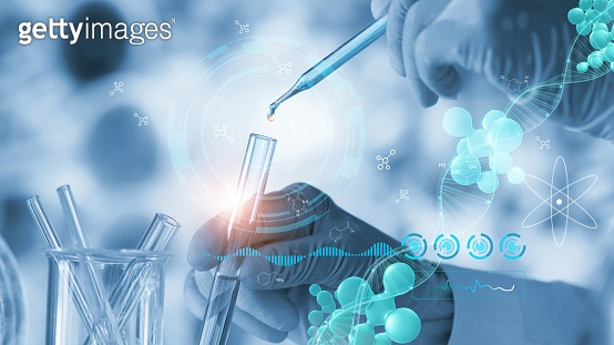 Science and medicine, Scientists are experimenting analyzing with molecule model and dropping a sample into a tube, experiments containing chemical liquid in laboratory, DNA structure, Innovative and biotechnology, 3D render