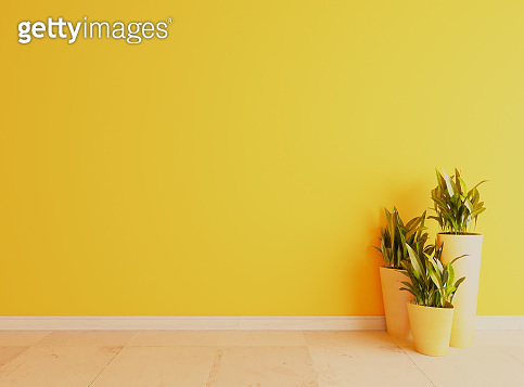 Yellow wall with white ceramic floor surface realistic 3D rendering