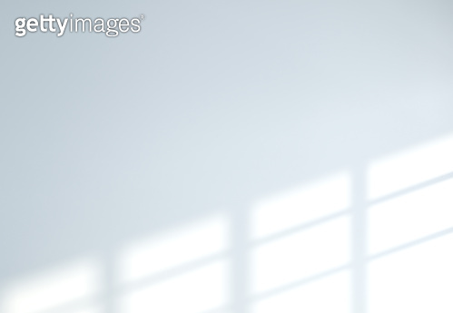 Shadow effect due to sunlight reflection and window frame on white wall realistic background 3D rendering