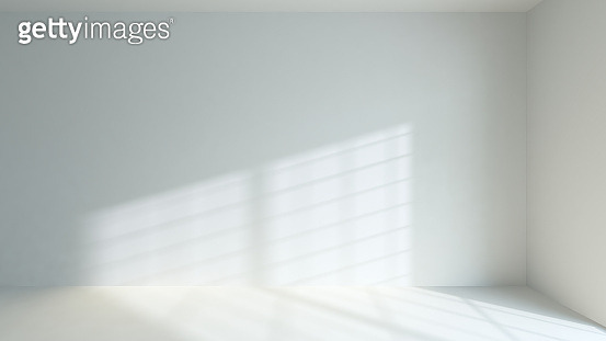 sunlight filtering through the window frame on the wall and on the floor realistic background 3D rendering