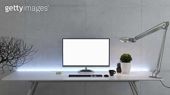 Work space stand mock up with table and plant, pc screen front view concrete wall 3D rendering