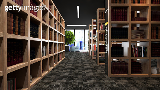 Modern library design with wooden bookcases 3D rendering