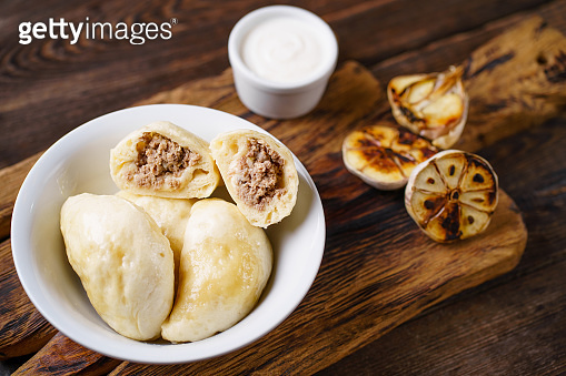 Meat stuffed pierogi, homemade dumplings.