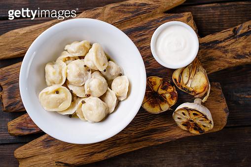 Tasty dumplings with meat, pierogi, homemade meals