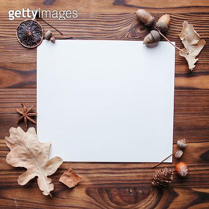 Autumn party invitation with foliage decoration