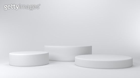 Shiny white round pedestal podium. 3d render.