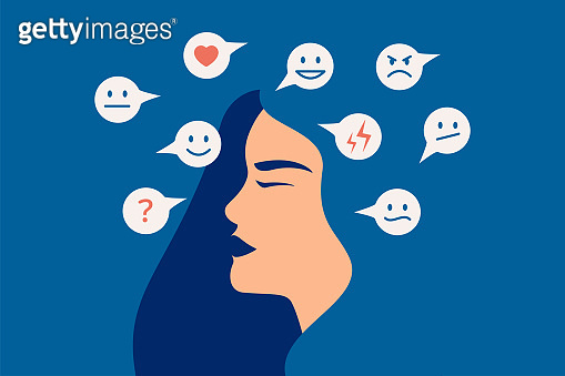 Mood swing concept. Many emotions surround young female with Bipolar disorder. Woman suffers from hormonal with a change in mood.