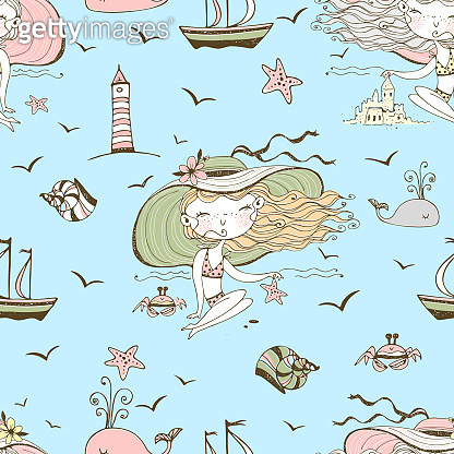 Seamless pattern on the theme of summer and the sea with cute girls on the beach. Vector