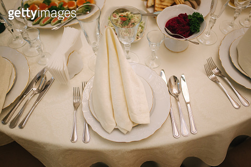 Table with food and drink on wedding. Served and decorated table in restaurant