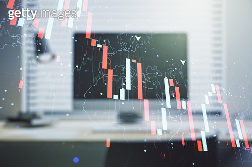 Creative abstract global crisis chart with world map sketch on modern laptop background, falling markets and collapse of global economy concept. Multiexposure