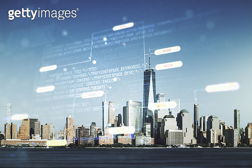 Double exposure of abstract creative programming illustration on New York city office buildings background, big data and blockchain concept
