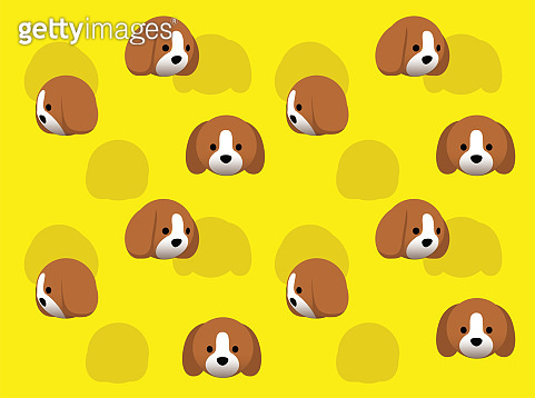 Animal Head Beagle Dog Animate Spinning Vector Illustration Seamless Background-01
