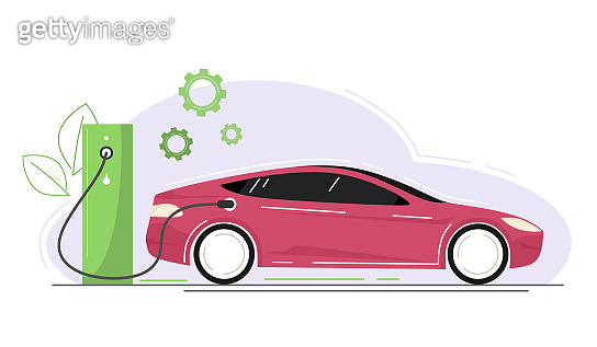 Eco car, electric car. Vector concept of green energy for transport.
