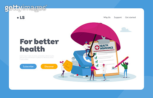 People Signing Health Insurance, Medical Life Protection Landing Page Template. Tiny Characters under Huge Umbrella
