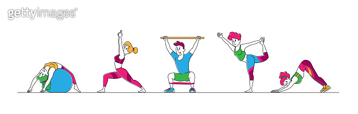Male and Female Characters Stretching at Home or Gym, People Yoga and Sport Activity, Sports Exercises, Fitness Workout