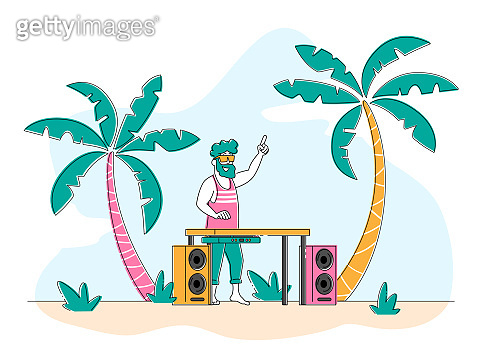 Happy Dj Male Character in Pink Shirt and Sunglasses on Head Playing and Mixing Music at Beach Disco Party. Discotheque Fun, Youth Lifestyle, Entertainment and Fest Concept. Linear Vector Illustration