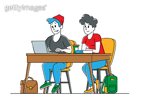 Couple of Young Male and Female Students Characters Sitting at Desk in Classroom Listening and Writing Lecture. Gaining Knowledge and Higher Education, Examination. Linear People Vector Illustration