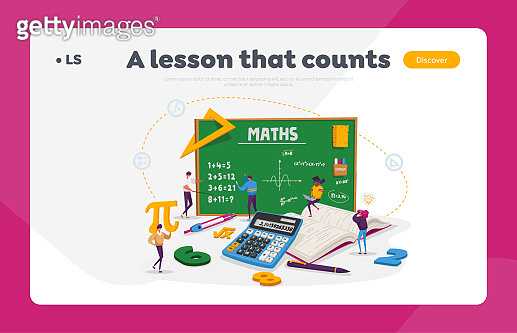 Math Science Landing Page Template. Tiny Students Characters in Lab or School Class Learning Mathematics at Huge Blackboard. People Gaining Education and Writing Formula. Cartoon Vector Illustration