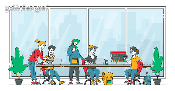 Business People Characters Sitting at Desk Discussing Idea in Office. Team Project Development, Teamwork Process. Creative Employees Working on Laptops and Communicate. Linear Vector Illustration