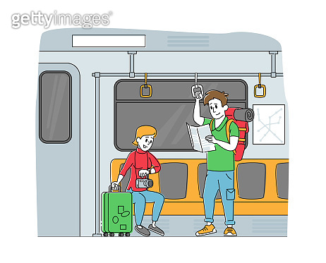 People Going by Subway Train. Tourist Characters with Luggage and Map in Underpass Transportation. Passengers in Metro