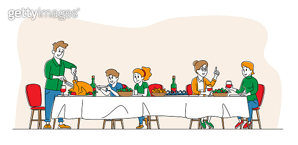 Big Family Feast, Thanksgiving Celebration Dinner at Table with Food. Happy People Eating Turkey Meal and Talking Together, Cheerful Characters Group During Festive Lunch. Linear Vector Illustration