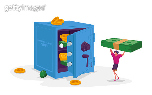 Tiny Female Character Carry Huge Dollar Bills to Bank Safe with Money, Gold Bars and Diamonds. Business Woman Making Investment, Cash Safety, Finance Protection, Deposit. Cartoon Vector Illustration