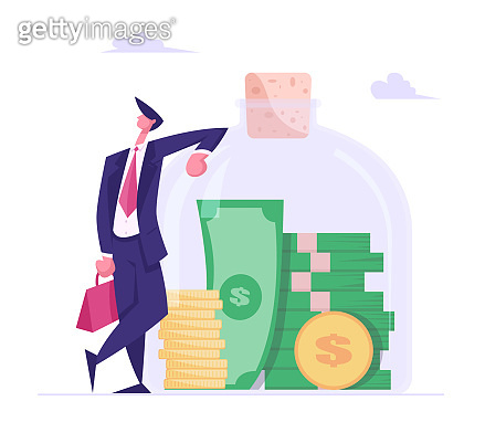 Successful Business Man Character Stand in Confident Posture at Huge Glass Jar with Stack of Gold Coins and Money Bills Inside. Financial Profit Salary Wealth Concept. Cartoon Flat Vector Illustration