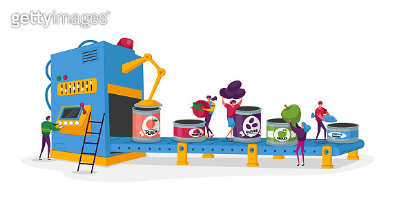 Canning Factory Working Process, Canned Fruits and Vegetables. Tiny Characters Put Fresh Veggies to Tins on Conveyor Belt. Farmers Products Manufacture Industry. Cartoon People Vector Illustration