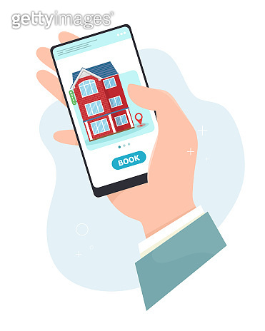 Hotel booking online, hand holds a smartphone. Hotel reservation, online booking. Vector concept in flat style.