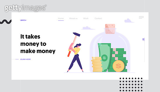 Money Saving and Finance Problems Website Landing Page. Business Woman Hitting Huge Glass Jar with Hammer going to Take Coins and Bills from Moneybox Web Page Banner. Cartoon Flat Vector Illustration