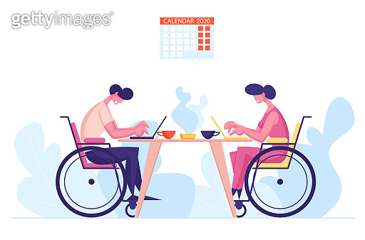 Handicapped Employees, Colleagues Office Workers Sitting at Desk Working on Laptops with Coffee Cups on Table. Disability, Employment for Disabled Persons Concept. Cartoon People Vector Illustration