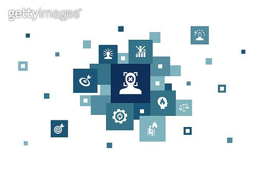 focus Infographic 10 steps bubble design.target, motivation, integrity, process simple icons