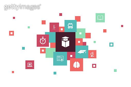 education  Infographic 10 steps pixel design.graduation, microscope, quiz, school bus simple icons