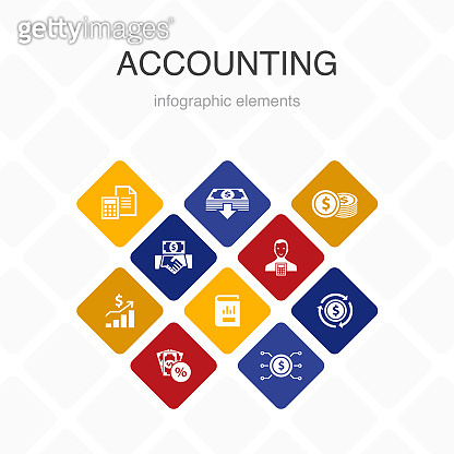 Accounting Infographic 10 option color design.Asset, Annual report, Net Income, Accountant simple icons