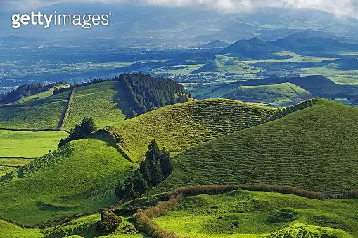 Beautiful landscape sceneries in Azores Portugal.