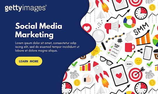 Vector background with smm elements. Social Media Marketing. Reach and promotion among target audience