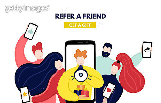 Vector concept of referral program. Network marketing. Refer a friend