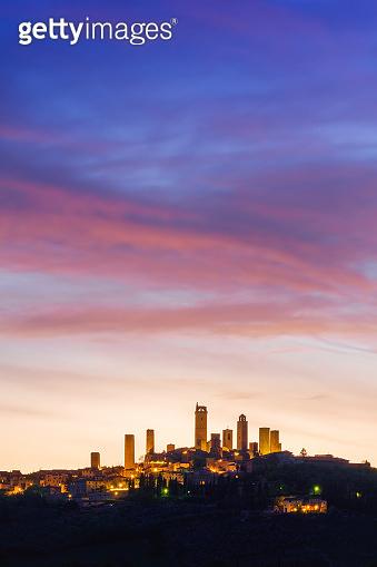 San Gimignano night, Tuscany
