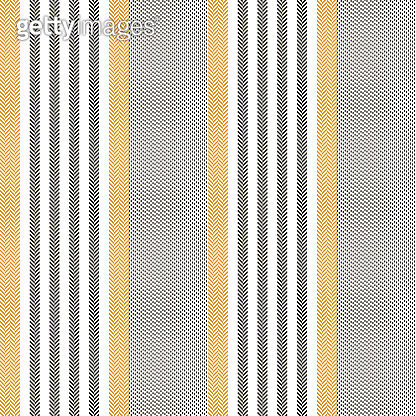 Stripes pattern in black, yellow, white. Seamless vertical lines for dress, trousers, shorts, bed sheet, mattress, or other modern textile print. Herringbone texture.