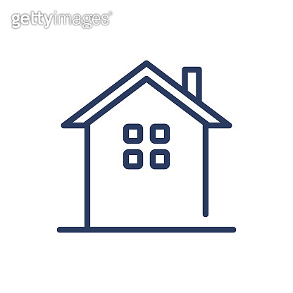 Cottage with chimney thin line icon